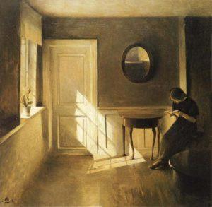 peter Ilsted intérieur avec jeune fille en train de lire 1908